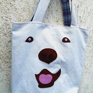 Maci-kutya táska. Felejtsd el a műanyagot!, Táska, Divat & Szépség, Táska, Szatyor, Laptoptáska, Válltáska, oldaltáska, Varrás, Shopper, bevásárlótáska, ami akár egy laptopot, vagy egyéb kézitáskába nem férő, vagy való dolgot is..., Meska