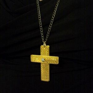 Kereszt medál nyaklánc, kadmium sárga kerékpár pedál fényvisszaverőből bronz színű lánccal (Trashman) - Meska.hu