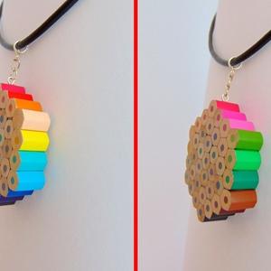 Hatszög alakú szivárvány színű színes ceruza nyaklánc medál ékszer rajtanároknak festőknek művészeknek (Trashman) - Meska.hu
