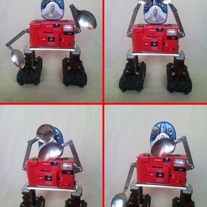 Piros retro fényképezőgép robot mozgatható karokkal  újrahasznosított tárgyakból fotósoknak férfiaknak (Trashman) - Meska.hu