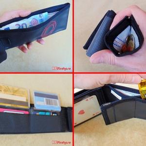 Fekete férfi pénztárca tűzoltó tömlőből piros Flórián kereszttel bankkártya névjegy irattartó hasznos ajándék tűzoltónak (Trashman) - Meska.hu