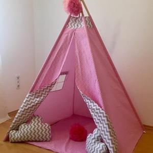 Rózsaszín álom indián sátor - Tipi, Gyerek & játék, Gyerekszoba, Gyerekbútor, Varrás, A gyerekek imádnak kuckózni, sátrat építeni.\n\nHa meguntad a pokrócokból épített bunkert a nappali kö..., Meska