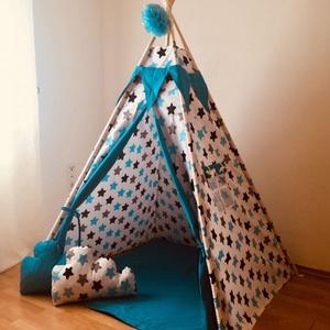 Óriás kék csillagos indián sátor - Tipi, Gyerek & játék, Gyerekszoba, Gyerekbútor, Varrás, Ugye Te is emlékszel arra, hogy mennyire jó érzés volt bújócskázni vagy elbújni a szüleid elől? Bunk..., Meska
