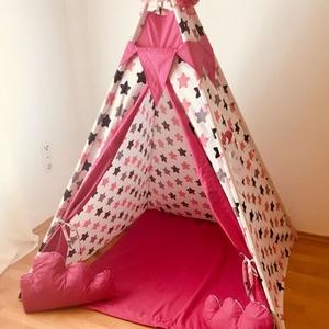 Óriás pink csillag indián sátor - Tipi, Gyerek & játék, Gyerekszoba, Gyerekbútor, Varrás, Ugye Te is emlékszel arra, hogy mennyire jó érzés volt bújócskázni vagy elbújni a szüleid elől? Bunk..., Meska