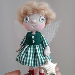 Karácsonyi tündér kézműves baba ajándék dekoráció vagy játék, Otthon & Lakás, Karácsony & Mikulás, Baba-és bábkészítés, Egyedi készítésű dekorációs baba, ajándék vagy játék. A baba alapja drótváz, végtagjai mozgathatóak...., Meska
