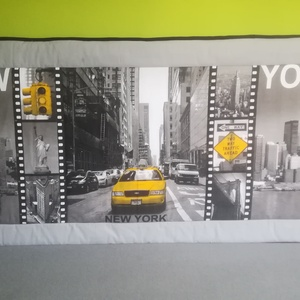 New York mintás falvédő , Otthon & lakás, Lakberendezés, Lakástextil, Falvédő, Varrás, Pamutvászon, modern falvédő. Három rétegű, középen 1cm vastag flízzel bélelve.Mérete 199*83cm.Az aka..., Meska