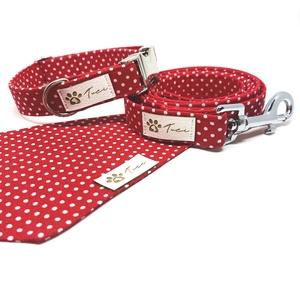 Piros-pöttyös kutya szett, Táska, Divat & Szépség, Ruha, divat, Ékszer, NoWaste, Varrás, Hogy ne csak a gazdik legyenek stílusosak!\n\nA kézzel készített termékeink kizárólag designer textíli..., Meska