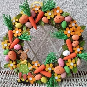 Húsvéti tarka, répás, nyuszis kopogtató, ajtódísz, Otthon & lakás, Dekoráció, Ünnepi dekoráció, Húsvéti díszek, Lakberendezés, Ajtódísz, kopogtató, Koszorú, Mindenmás, Virágkötés, Saját készítésű alapot díszítettem apró tojásokkal, pici répákkal, filc virágokkal és egy fa nyusziv..., Meska