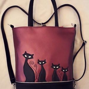 Boszorkány cicái, Táska & Tok, Variálható táska, Varrás, Gyönyörű, elegánsan csillogó metálila és fekete textilbőrből készítettem ezt a kényelmes és praktiku..., Meska