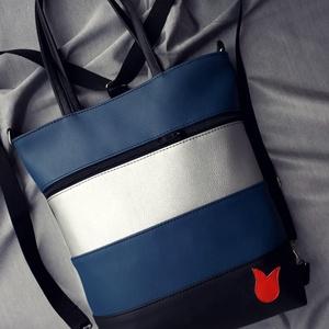HÁTITÁSKA KÉK-EZÜST-FEKETE, Táska & Tok, Kézitáska & válltáska, Varrás, Kék, ezüst és fekete színű  textilbőrből  készítettem ezt a kényelmes és praktikus táskát. Kívülre i..., Meska