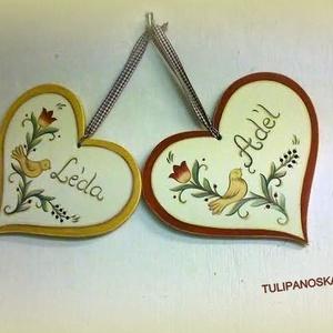 Szív tábla madaras,tulipános (tulipanoskata) - Meska.hu