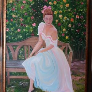 A hölgy, Otthon & lakás, Képzőművészet, Festmény, Olajfestmény, Festészet, Olaj festmény, vászon\nméret: 50x70 cm \nKerettel , Meska