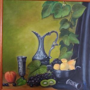 Csendélet, Otthon & lakás, Képzőművészet, Festmény, Olajfestmény, Festészet, Olajfestmény, vászon\nméret: 43x43 cm\nkerettel, Meska