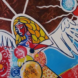 Angel, Otthon & lakás, Képzőművészet, Festmény, Olajfestmény, Festészet, Olajfestmény, vászon\nMéret: 27x33 cm\nKeret nélkül, Meska