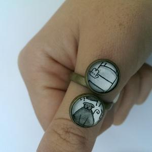 dupla gyűrű (kutya mintás), Ékszer, Üveglencsés gyűrű, Gyűrű, Ékszerkészítés, Meska