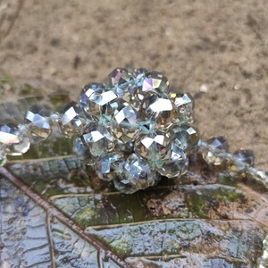 kristályos gyöngybogyós nyaklánc, Ékszer, Gyöngyös nyaklác, Nyaklánc, Ékszerkészítés, Gyöngyfűzés, gyöngyhímzés, Meska
