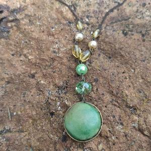 Zöld és sárga.... nyaklánc, Ékszer, Medálos nyaklánc, Nyaklánc, Ékszerkészítés, Meska
