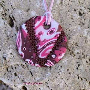 Barna-pink ékszergyurma medál, Ékszer, Medálos nyaklánc, Nyaklánc, Ékszerkészítés, Gyurma, Meska