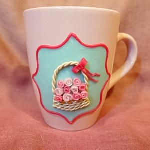 Rózsa virágos bögre gyurma díszítéssel anyák napja , Otthon & lakás, Konyhafelszerelés, Bögre, csésze, Gyurma, Mindenmás, Süthető ékszer gyurmából kézzel készült rózsa mintás bögre, apró, kézzel formázott virágokból. Három..., Meska
