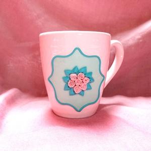 Pasztell Rózsa virágos bögre gyurma díszítéssel nemcsak anyák napjára, Egyéb, Otthon & lakás, Konyhafelszerelés, Bögre, csésze, Gyurma, Mindenmás, Süthető ékszer gyurmából kézzel készült rózsa mintás bögre , apró, kézzel formázott virágokból. \nA b..., Meska