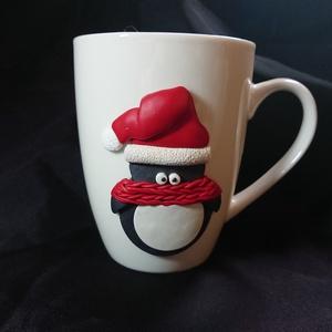 Pingvin mintás bögre gyurma díszítéssel Mikulás Karácsony ajándék , Otthon & Lakás, Konyhafelszerelés, Bögre & Csésze, Gyurma, Mindenmás, Süthető ékszer gyurmából kézzel formázott téli mintával díszített bögre. \nPingvin mintát formáztam, ..., Meska