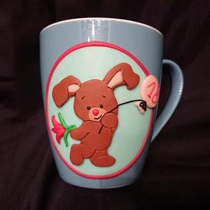 Nyuszi figura mintás bögre gyurma díszítéssel Valentin nap születésnap ajándék Nici, Otthon & Lakás, Konyhafelszerelés, Bögre & Csésze, Gyurma, Mindenmás, Süthető ékszer gyurmából kézzel formázott mintával díszített bögre. \nNici stílusú aranyos nyuszi min..., Meska