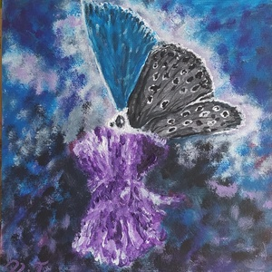 Pillangó, Művészet, Festmény, Akril, Festészet, MDf+ vászon kombóra készült akril festékkel  hétfői napindítónak. \n20*20 cm-es, vastagsága 3 mm, így..., Meska