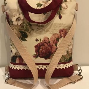 4in1 Hátizsák, oldaltáska, válltáska, kézitáska/Bordó- rózsás/, Táska, Divat & Szépség, Táska, Válltáska, oldaltáska, Hátizsák, Patchwork, foltvarrás, Varrás, Rendelésre készül, elkészítési idő 2-3 nap.\n\nGyönyörű, nagyon jó minőségű  textilekből varrtam ezt a..., Meska