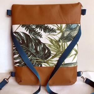 Többfunkciós női táska/ Pálmaleveles /, Táska, Divat & Szépség, Táska, Válltáska, oldaltáska, Hátizsák, Varrás, KÉSZLETEN VAN !  Puha textilbőrből és prémium minőségű pálmaleveles design textilből készítettem ez..., Meska