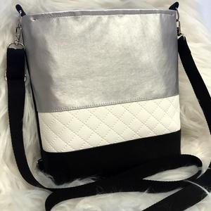 3in1 vízálló fekete-fehér-ezüst textilbőr táska, Táska, Divat & Szépség, Táska, Hátizsák, Válltáska, oldaltáska, Varrás, Rendelésre készül, elkészítési idő 2-3 nap!\n\nNem ázik át a táska!\n\nKülönböző színű textilbőrökből ké..., Meska