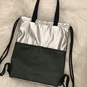 2in1 Vízálló, variálható nagy méretű hátizsák, válltáska, Táska, Divat & Szépség, Táska, Válltáska, oldaltáska, Hátizsák, Varrás, KÉSZLETEN VAN!\n\nMetál zöld és metál ezüst textilbőr kombinációja.\nNemcsak hátizsákként, hanem válltá..., Meska