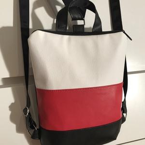Fekete-fehér-piros, textilbőr hátizsák, Hátizsák, Táska & Tok, Kishátizsák, Varrás, Bőrművesség, \n\n KÉSZLETEN VAN!\n\nTextilbőrök kombinációjából készült ez a kisebb méretű táska.\nHátizsákként és kéz..., Meska