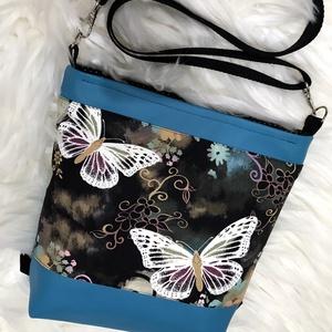 + ajándék neszi!! 3in1  pillangós, vízálló női táska , Variálható táska, Táska & Tok, Varrás, + ajándék neszesszer!! \n\nKÉSZLETEN VAN!\n\nTürkiz textilbőrből, valamint pillangó mintás amerikai pamu..., Meska