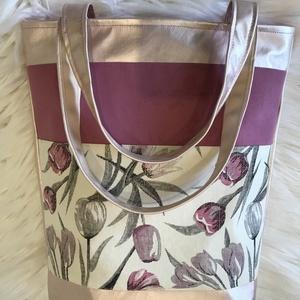 Púderrózsaszín- tulipános, textilbőr válltáska, pakolós táska, shopping bag , Nagy pakolós táska, Kézitáska & válltáska, Táska & Tok, Varrás, Bőrművesség, \n\nKÉSZLETEN VAN!\n\nTulipán mintás designer vászon és púder textilbőr kombinációjából készült nagy mér..., Meska