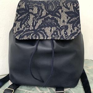 Kék-csipkés textilbőr női hátizsák, Hátizsák, Hátizsák, Táska & Tok, Varrás, Bőrművesség, KÉSZLETEN VAN!\nCsipke mintás designer textilből és kék textilbőrből készült női hátitáska,  hátizsák..., Meska