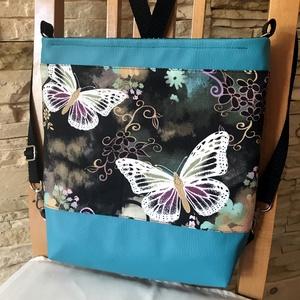 3in1  pillangós, vízálló női táska , Táska, Divat & Szépség, Táska, Hátizsák, Válltáska, oldaltáska, Varrás, KÉSZLETEN VAN!\n\nTürkiz textilbőrből, valamint pillangó mintás amerikai pamutvászonból  készítettem e..., Meska