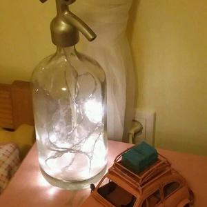 Hangulatvilágítás szódásüvegből, Lakberendezés, Otthon & lakás, Lámpa, Asztali lámpa, Mindenmás, Retro szódásüveg asztali lámpaként újratöltve, Meska