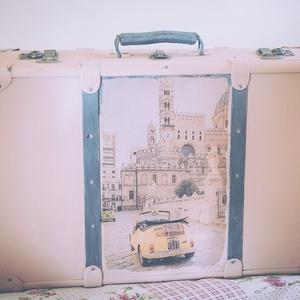 Vintage bőrönd Fiat 500 in Palermo, Bőrönd, Bőrönd & utazás, Táska & Tok, Decoupage, transzfer és szalvétatechnika, Festett tárgyak, Szeretsz utazni? Szereted ezt stílusosan tenni? Talán imádod Olaszországot? Vagy rajongója vagy a Fi..., Meska