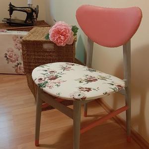 Csodás rózsás szék, Otthon & lakás, Bútor, Szék, fotel, Festett tárgyak, Gyönyörű málna és puncs átmenete közötti árnyalatot kevertem, mellyel a háttámlát és az oldalmerevít..., Meska