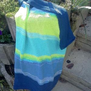 Korfu babatakaró - pamut fonalból kötve - batikolt átmenetes színekben - otthon & lakás - lakástextil - takaró - Meska.hu