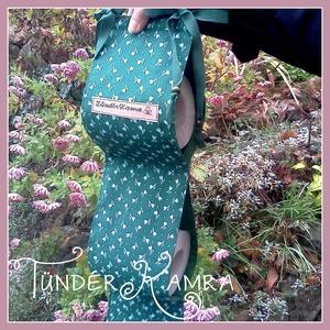Wc-papír tároló, 3 tekercses, hagyományos zöld színben, tulipános mintával (Tunderkamra) - Meska.hu