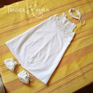 Vintage keresztelő baba ruha szett, ruha cipő fejpánt, horgolt hímzett len pamut (Tunderkamra) - Meska.hu