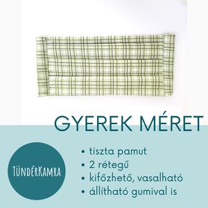 Fiús arcmaszk - mosható vasalható zöld kockás - Meska.hu