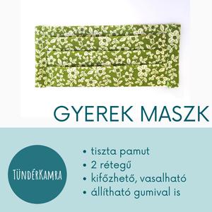 Zöld virágos szájmaszk arcmaszk - gyerek méretben, Táska, Divat & Szépség, Gyerek & játék, Szépség(ápolás), Egészségmegőrzés, Baba-mama kellék, Maszk, szájmaszk, Kislány arcmaszk zöld virágos mintával S méretben  MINDEN MASZKUNK - 70 fokon mosható, vasalható - 2..., Meska