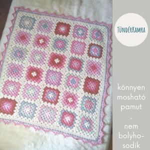 Baba takaró - horgolt nagyinégyzetes - pink fehér pamut - kötött babatakaró - Meska.hu