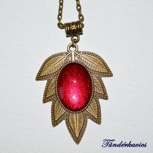 Őszi csillogás üveglencsés nyaklánc - Meska.hu