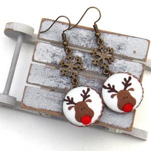 Rudolf szarvasos-hópelyhes fülbevaló, Ékszer, Fülbevaló, Lógós fülbevaló, Ékszerkészítés, A tél varázslatos hangulatához illő, Rudolf rénszarvasos-hópelyhes fülbevalót készítettem.\n\nA gombok..., Meska