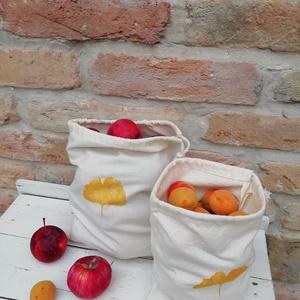 Öko vászonzsákok Ginko levél lenyomattal (6db), Zöldség/Gyümölcs zsák, Bevásárlás & Shopper táska, Táska & Tok, Varrás, Ökozsák. Természetes, nyers pamutvászon zsákok, bevásárláshoz, tároláshoz (6 db). Zöldség, pékárú és..., Meska