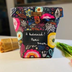 Feliratozható uzsonnás táska,  PUL béléssel (élelmiszerbiztos), NoWaste, Bevásárló zsákok, zacskók , Otthon & lakás, Konyhafelszerelés, Varrás, UZSONNÁS TÁSKA feliratozható kréta filc textillel: \nHagyj minden nap egy kedves üzenetet! <3\nHárom r..., Meska