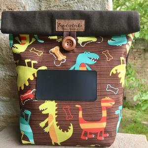 Dinós Feliratozható uzsonnás táska,  PUL béléssel (élelmiszerbiztos), NoWaste, Otthon & lakás, Bevásárló zsákok, zacskók , Konyhafelszerelés, UZSONNÁS TÁSKA feliratozható kréta filc textillel:  Hagyj minden nap egy kedves üzenetet! <3 Három r..., Meska